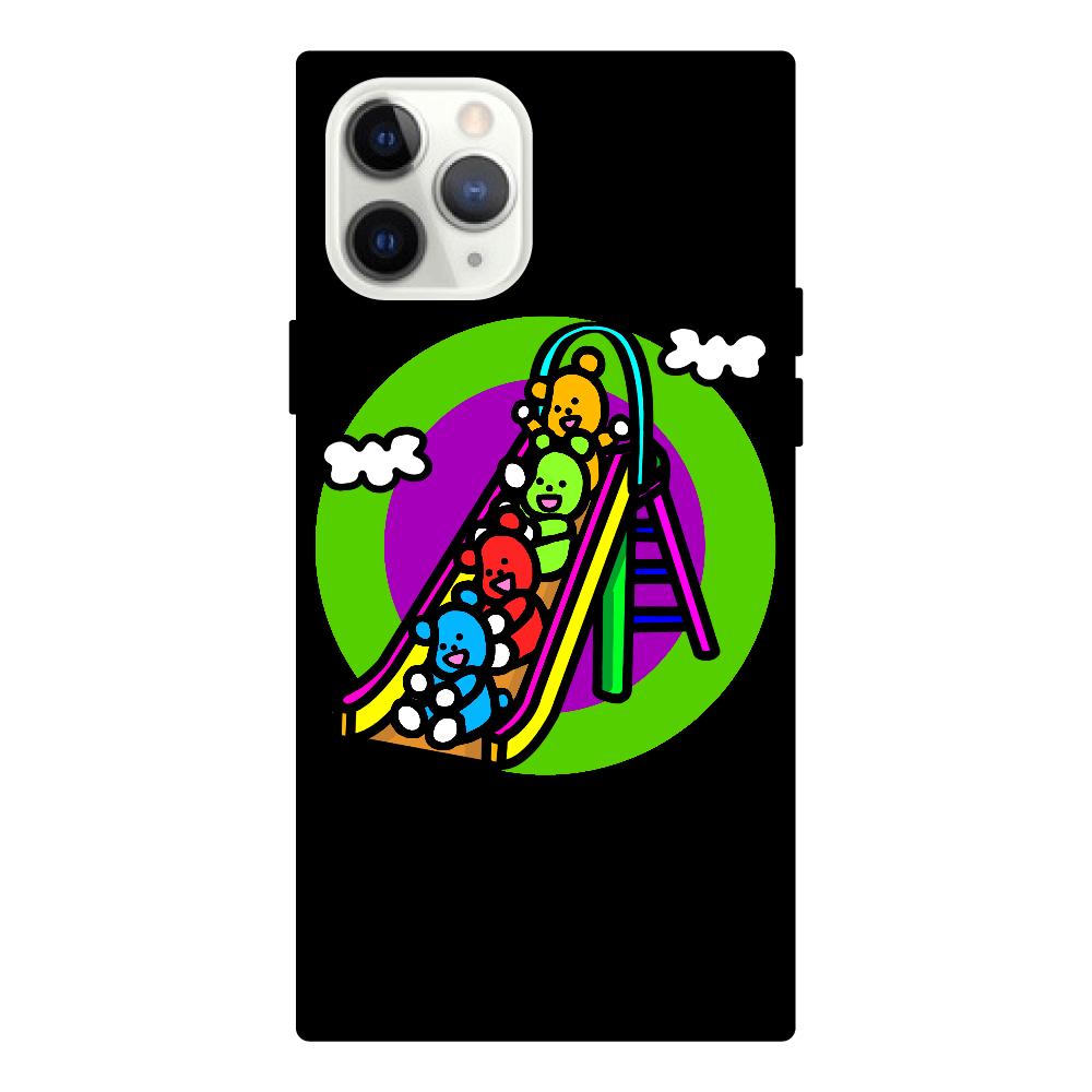 くまの遊び iPhone11 Pro スクエア型強化ガラスケース