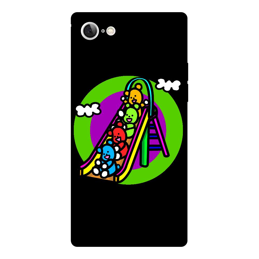 くまの遊び iPhoneSE2 背面強化ガラス(スクエア)