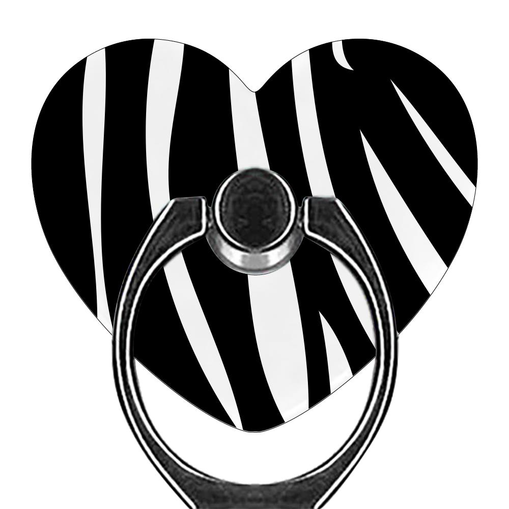 ゼブラ柄スマホリング スマホリング(ハート型)