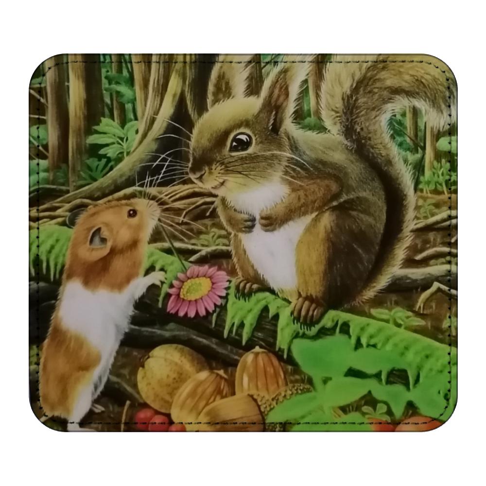 マウスパッド リス& ハムスター レザーマウスパッド(スクエア)