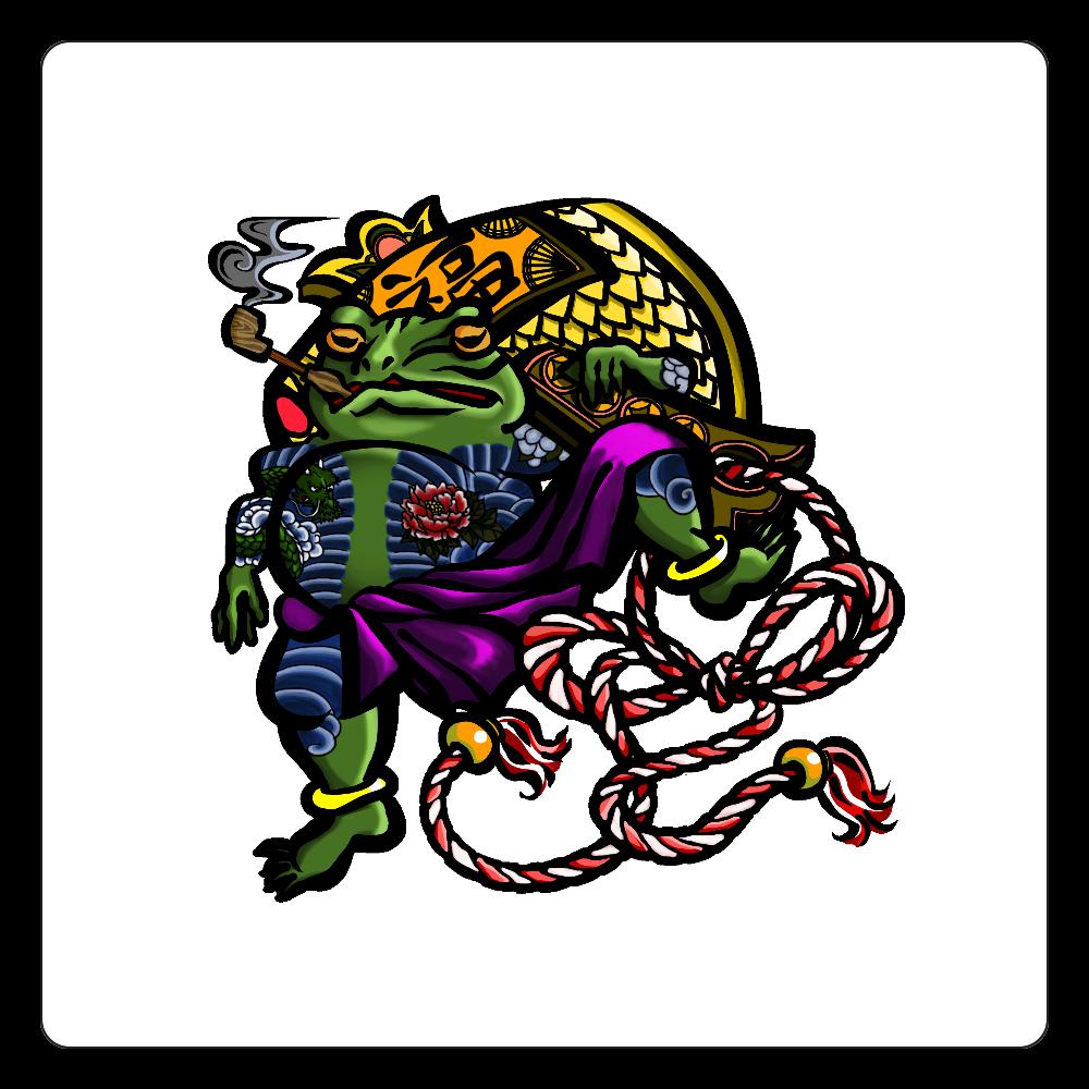 福を呼ぶ蛙と打ち出の小づち 彩色仕様 白雲石コースター 四角