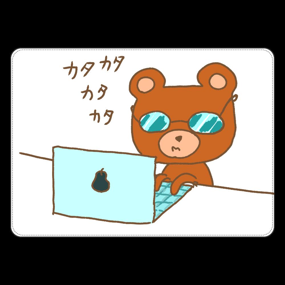 パソコン作業くまくま タブレットケース汎用Mサイズ