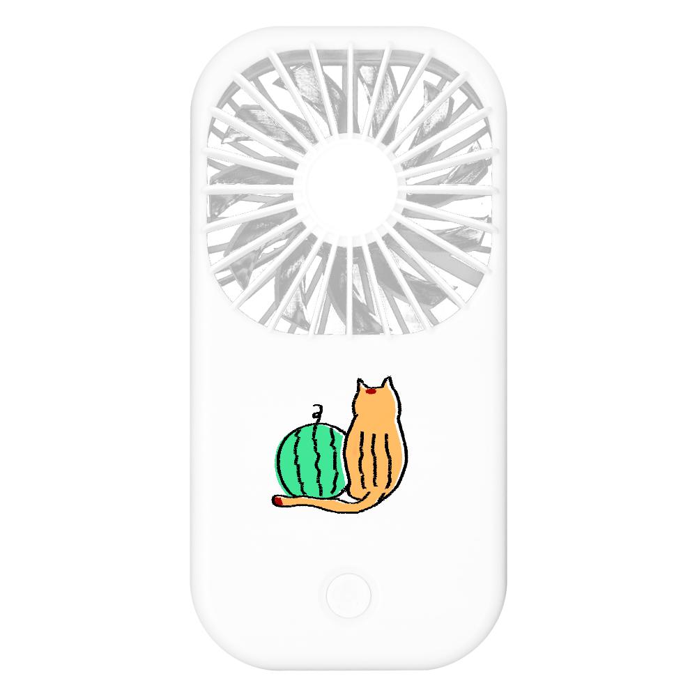猫とスイカ ポータブルスタンドファン