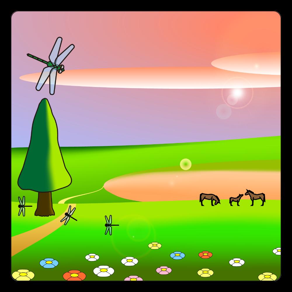 夕焼けの草原 白雲石コースター 四角