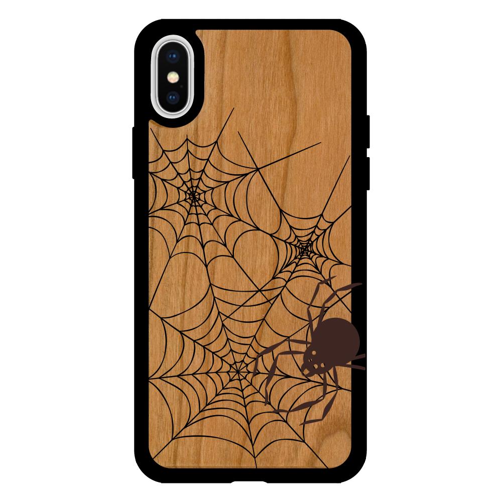 ハロウィン クモ iPhoneX/XS ウッドケース