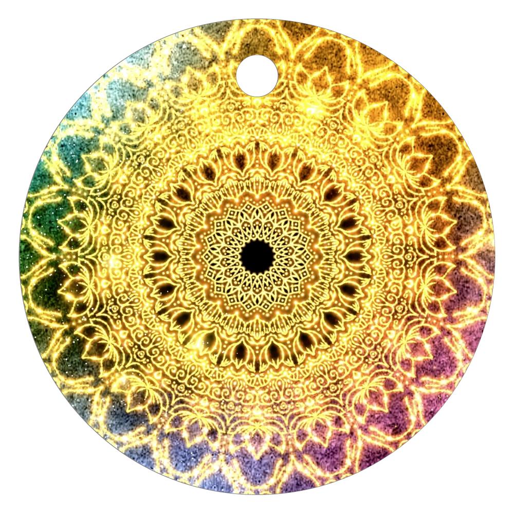 【望む現実へ移行】曼荼羅アート レザーキーホルダー(丸型)