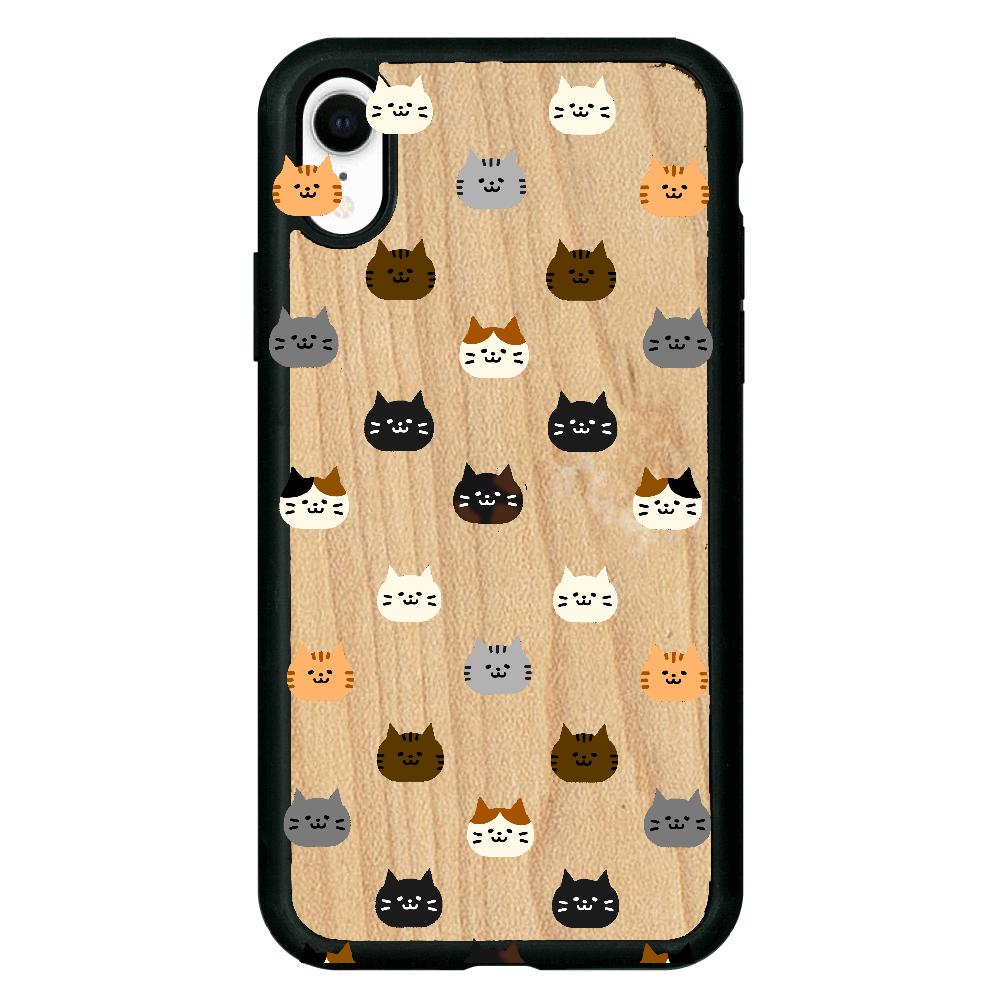 猫さんいっぱい iPhoneXR ウッドケース