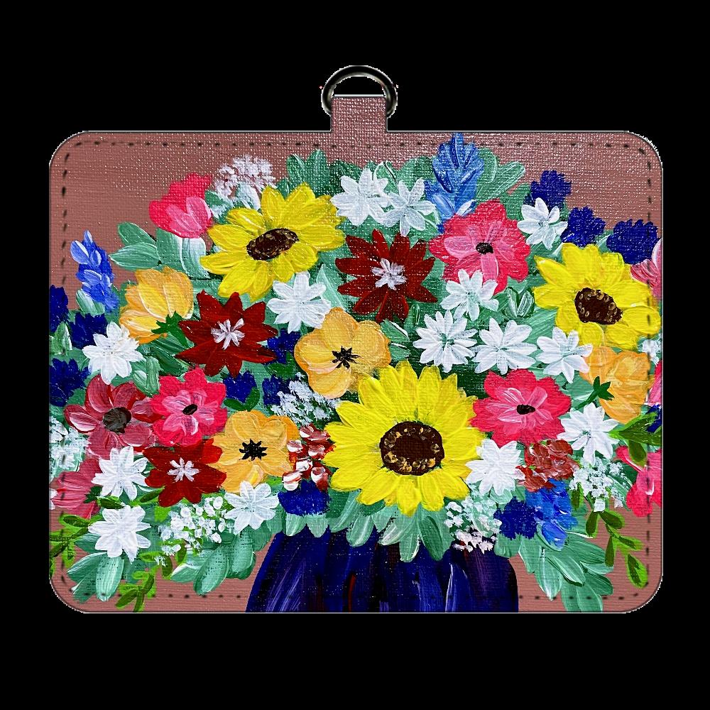 華やかな花々のパスケース パスケース