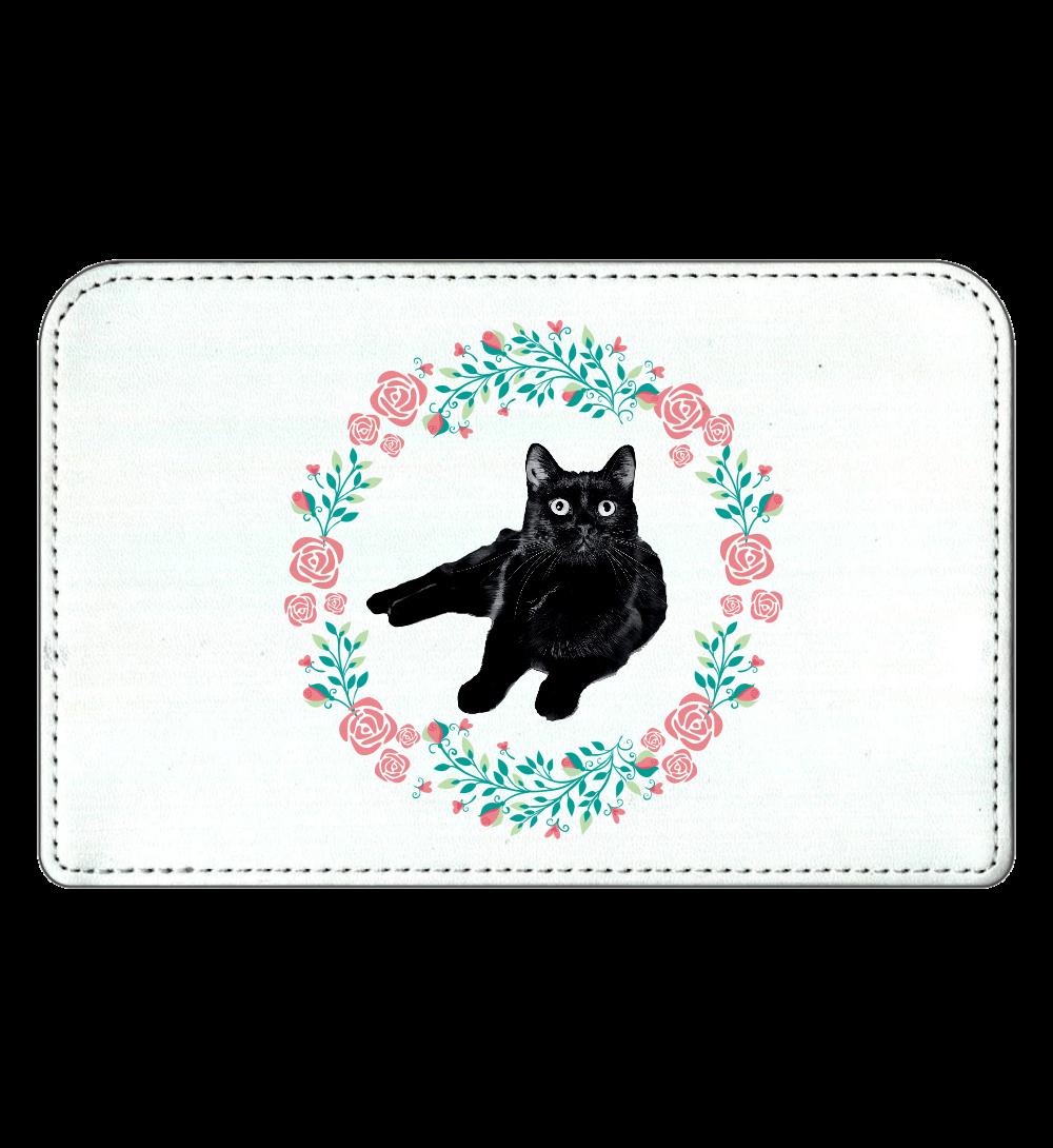 黒猫の花柄化粧ポーチ 化粧ポーチ