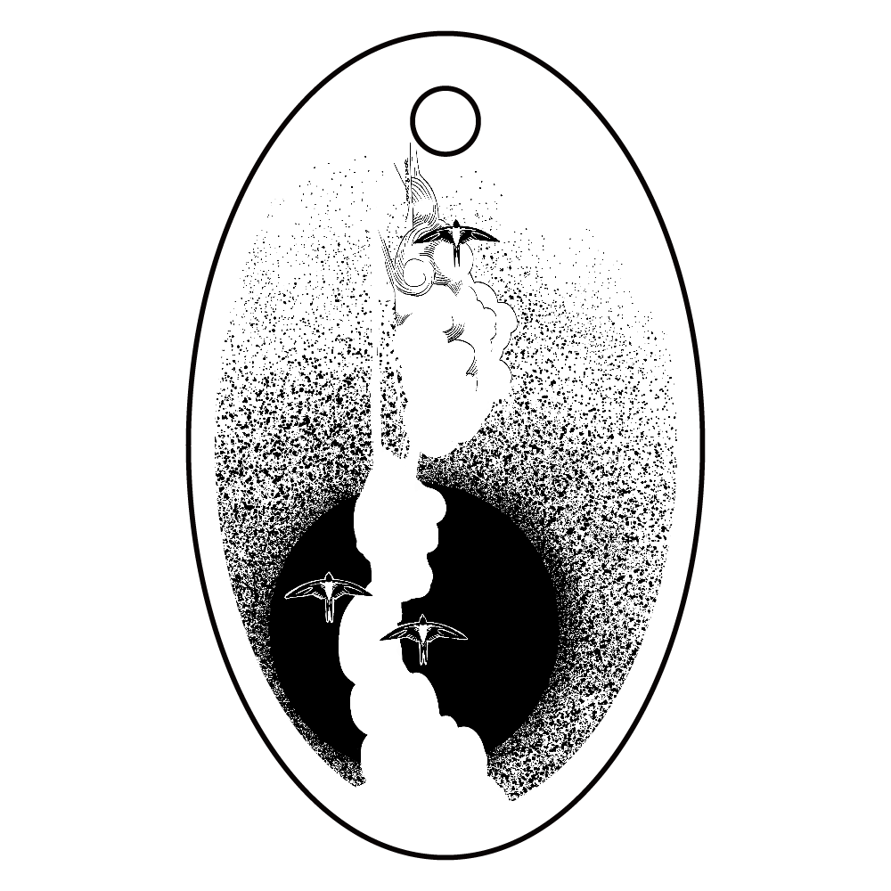 bird02 アクリルキーホルダー 楕円型 (4cm)