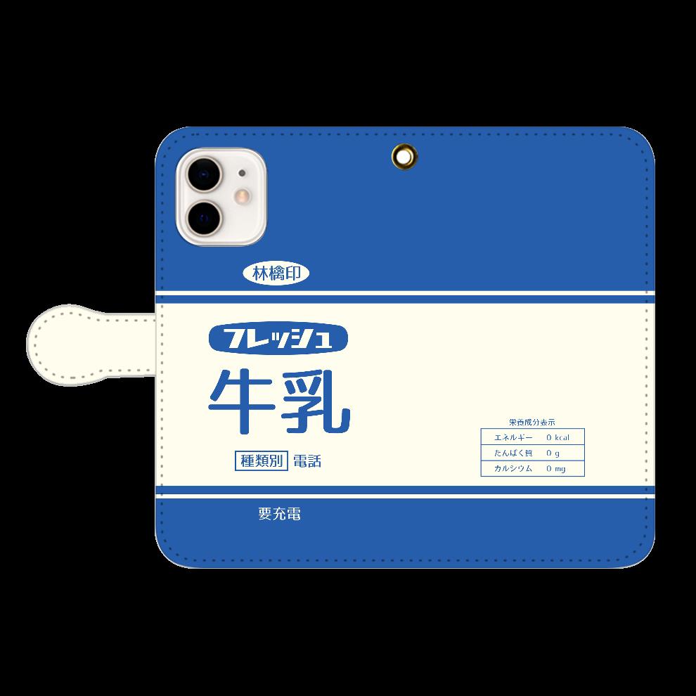 レトロなフレッシュ牛乳 iPhone12/12pro 手帳型スマホケース
