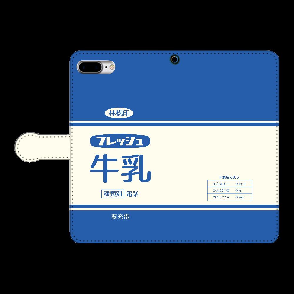 レトロなフレッシュ牛乳 iPhone8Plus 手帳型スマホケース