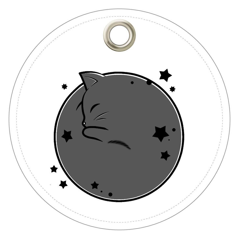 アンモナ(ニャ)イト・黒 レザーキーホルダー(丸型) レザーキーホルダー(丸型)