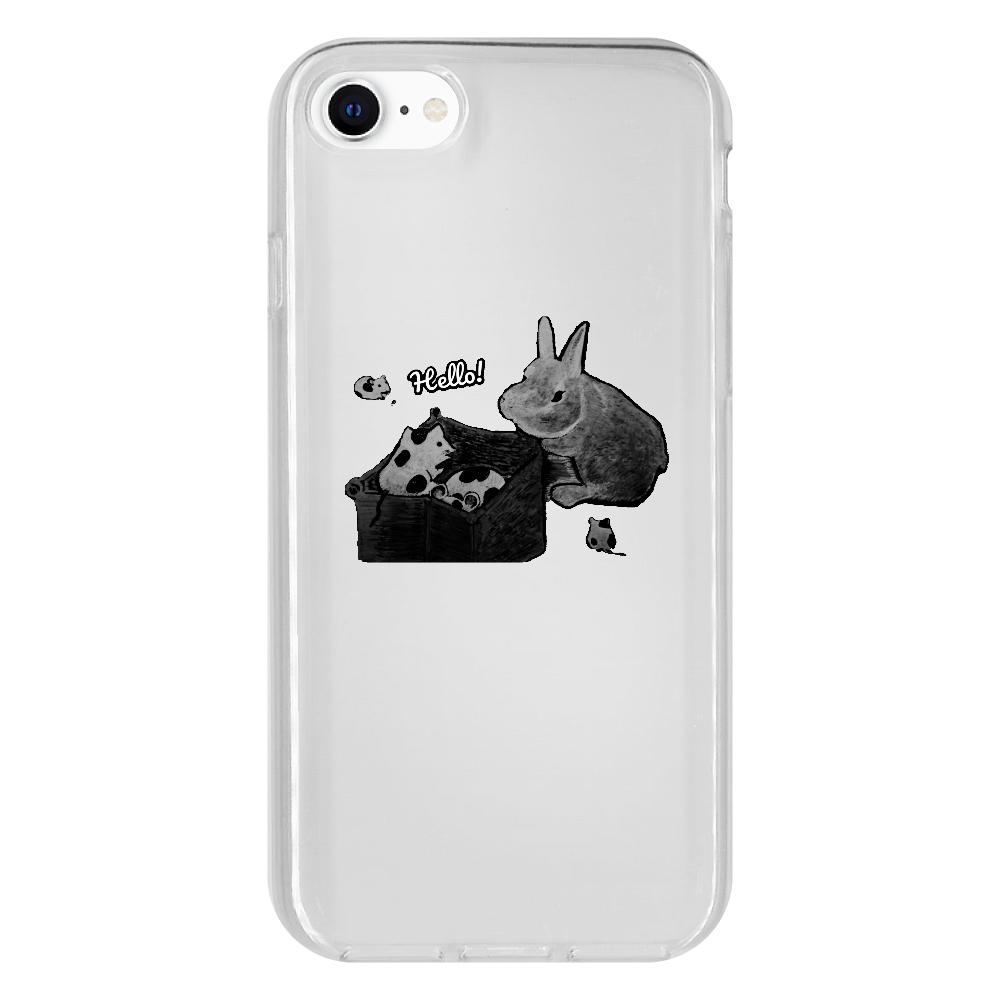 パンダマウスとウサギ(モノクロ)Hallo! iPhone SE2 抗菌ソフトケース