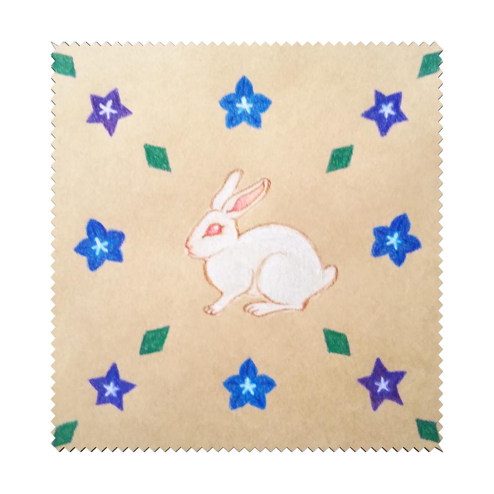 シロウサギと桔梗 マイクロファイバーメガネ拭き