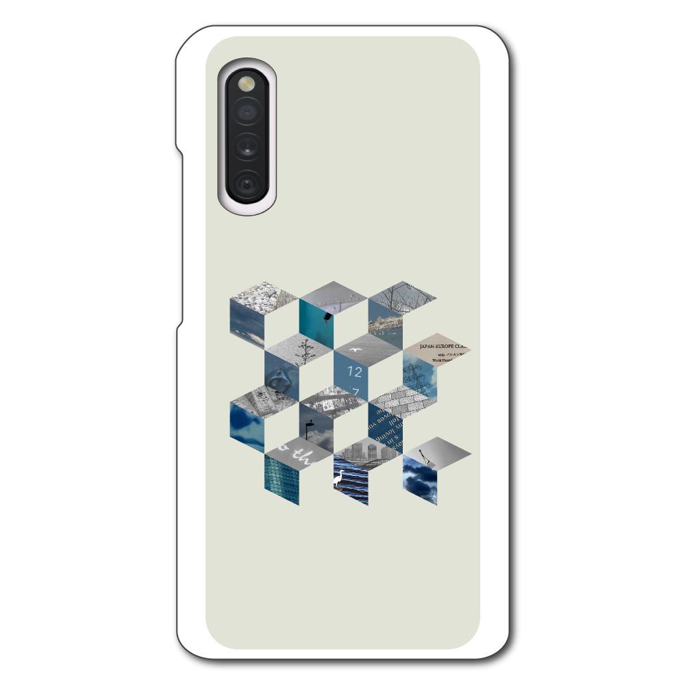 「キューブ コラージュ」スマホケース Galaxy A41 SC-41A/SCV48/UQ mobile用ハードホワイトケース