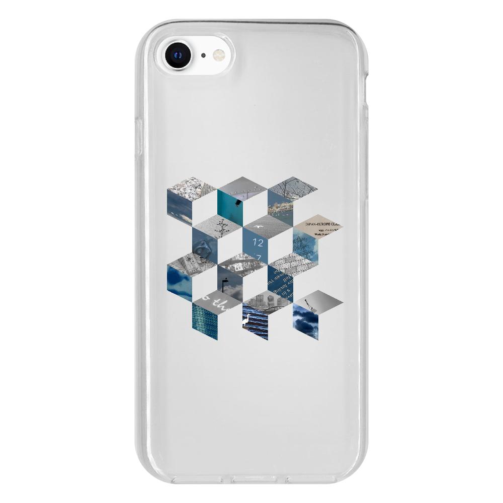 「キューブ コラージュ」スマホケース iPhone SE2 抗菌ソフトケース