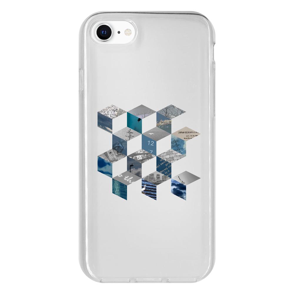 「キューブ コラージュ」スマホケース iPhone 8 抗菌ソフトケース