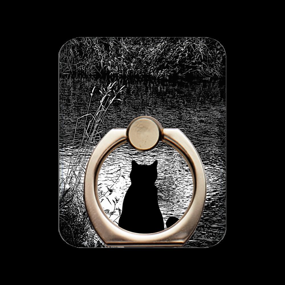 川辺黒猫モノクロ スマホリング