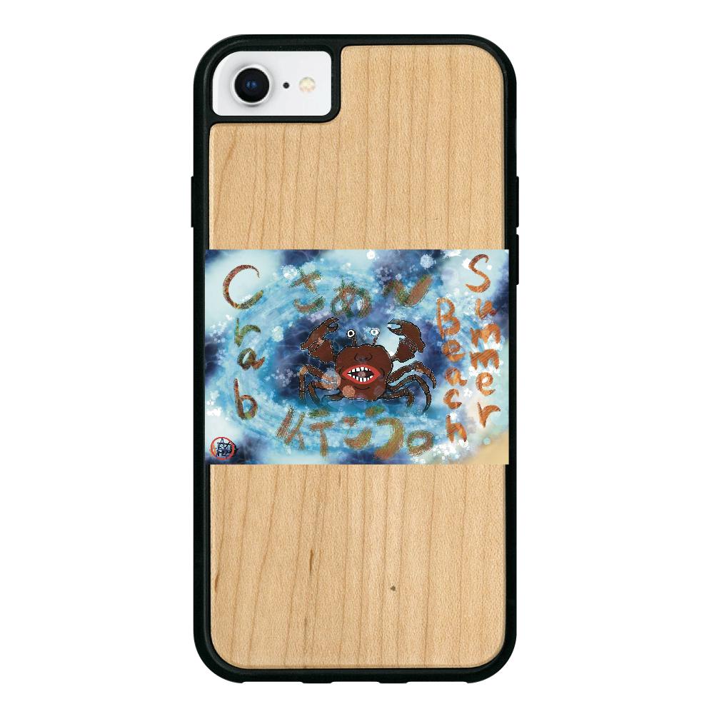 夏のビーチ「カニ」 ORILAB MARKET.Version.9 iPhone8 ウッドケース