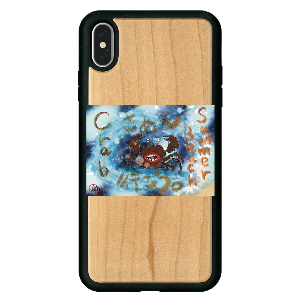 夏のビーチ「カニ」 ORILAB MARKET.Version.9 iPhoneXsMax ウッドケース