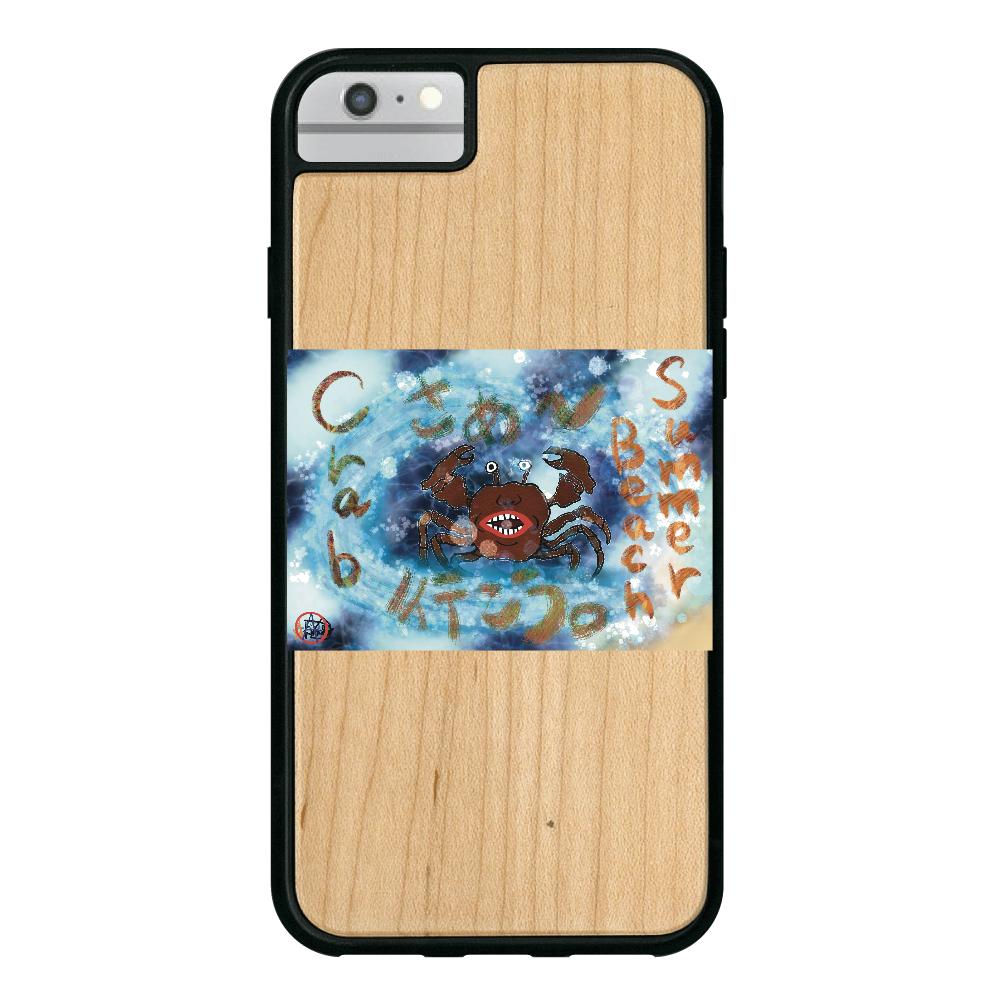 夏のビーチ「カニ」 ORILAB MARKET.Version.9 iPhone6/6S ウッドケース