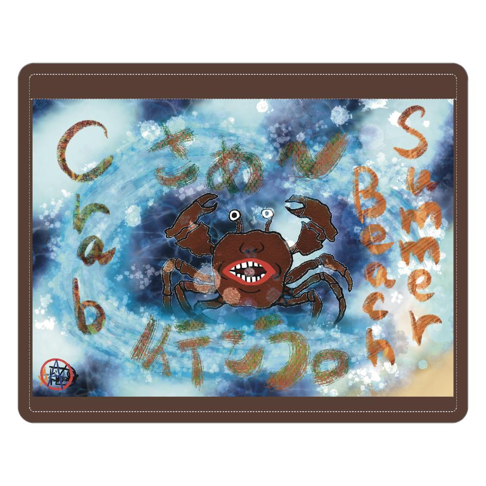 夏のビーチ「カニ」 ORILAB MARKET.Version.10 レザーIDカードホルダー(ネックストラップ付)
