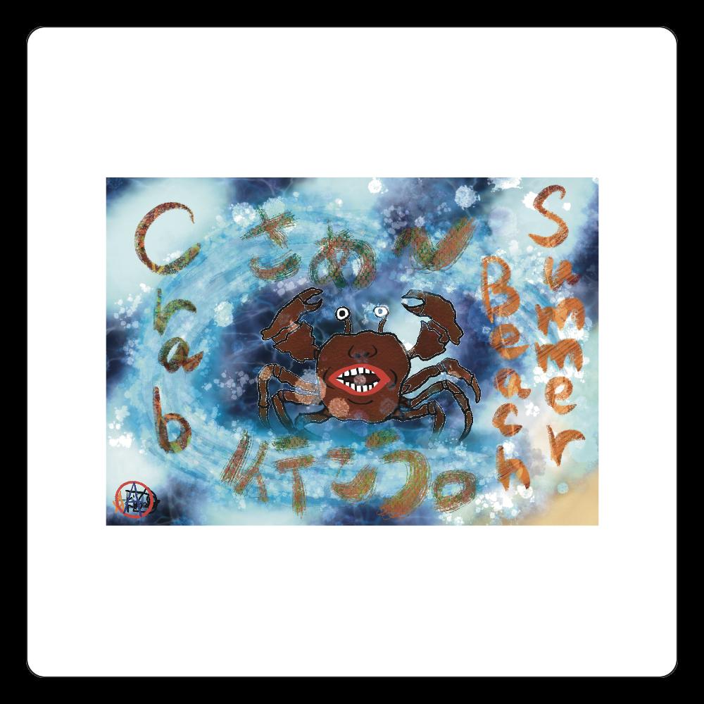 夏のビーチ「カニ」 ORILAB MARKET.Version.11 白雲石コースター 四角