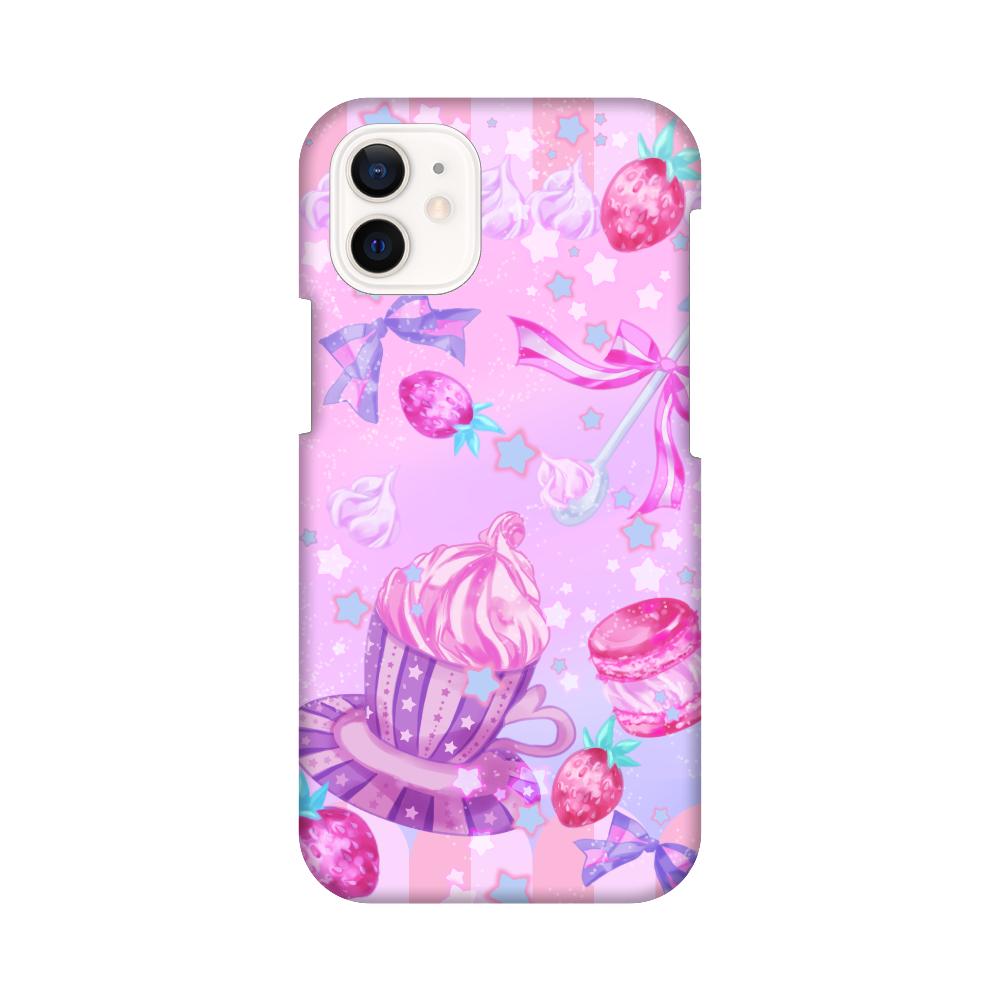 苺とマカロンのティータイムスマホケースiPhone12 mini iPhone12 mini