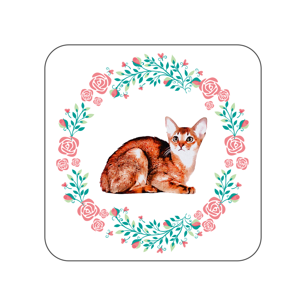 アビシニアン猫の花柄タオルハンカチ 全面プリントハンカチタオル