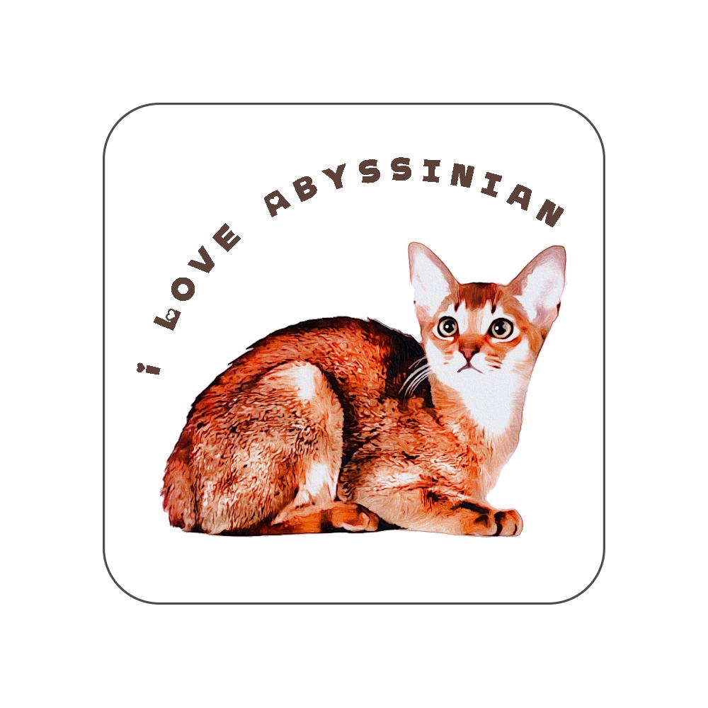 アビシニアン猫のタオルハンカチ〜I LOVE〜 全面プリントハンカチタオル