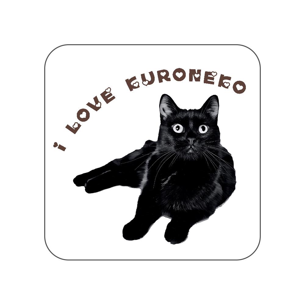 黒猫のタオルハンカチ〜I LOVE〜 全面プリントハンカチタオル
