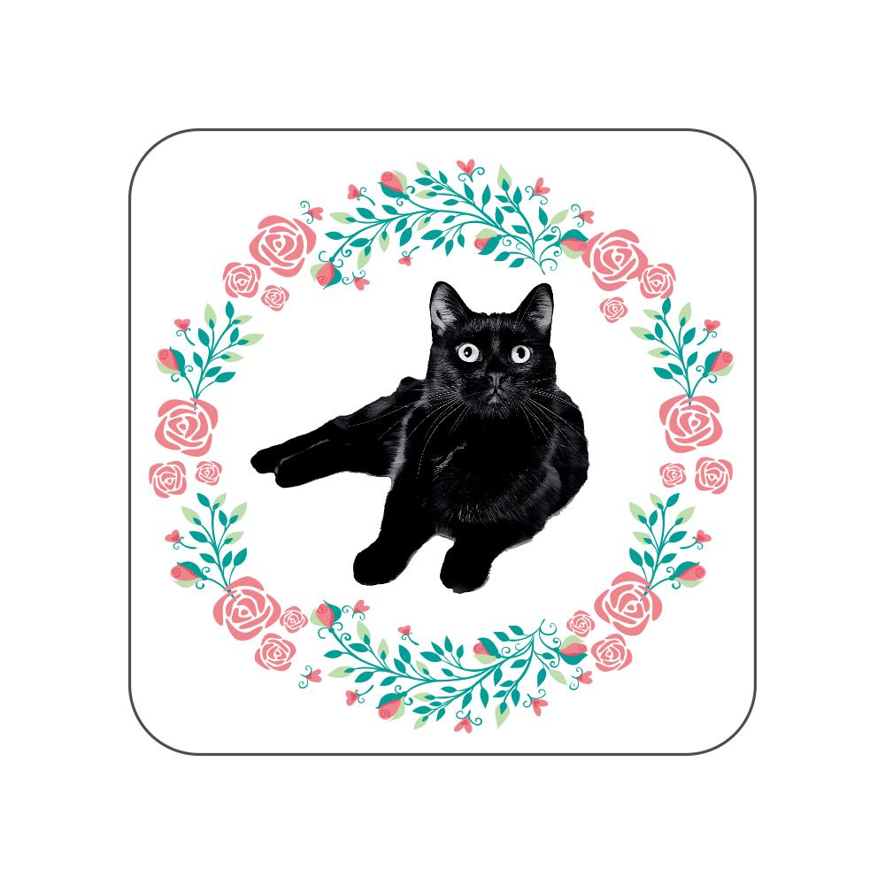 黒猫の花柄タオルハンカチ 全面プリントハンカチタオル