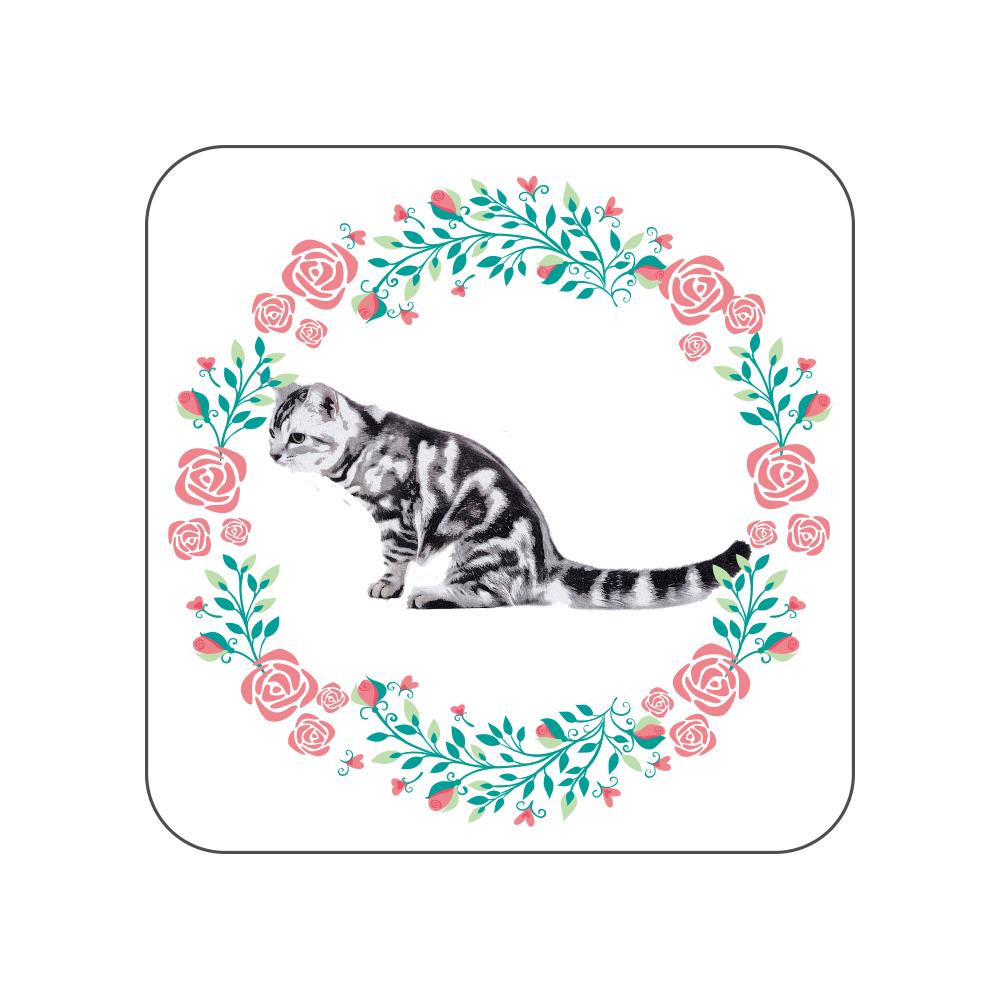アメリカンショートヘア猫の花柄タオルハンカチ 全面プリントハンカチタオル