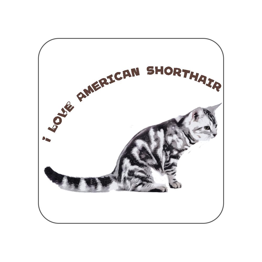 アメリカンショートヘア猫のタオルハンカチ〜I LOVE〜 全面プリントハンカチタオル