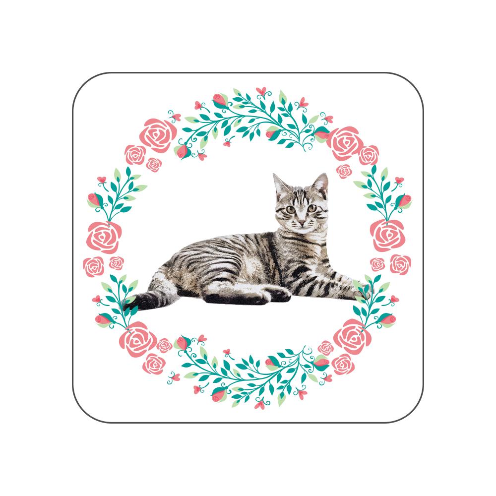 キジトラ猫の花柄タオルハンカチ 全面プリントハンカチタオル