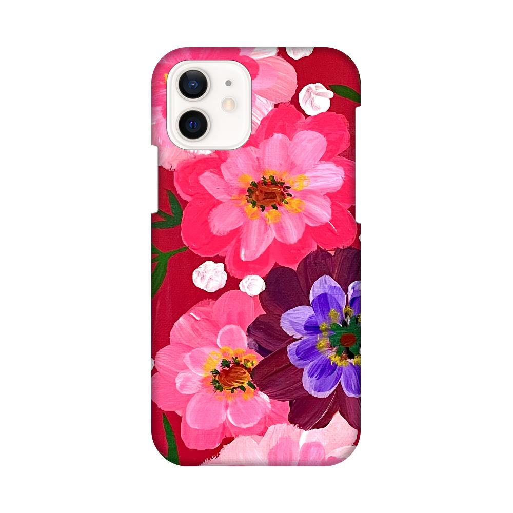 ピンクと花。iPhoneケース iPhone12 / 12 Pro