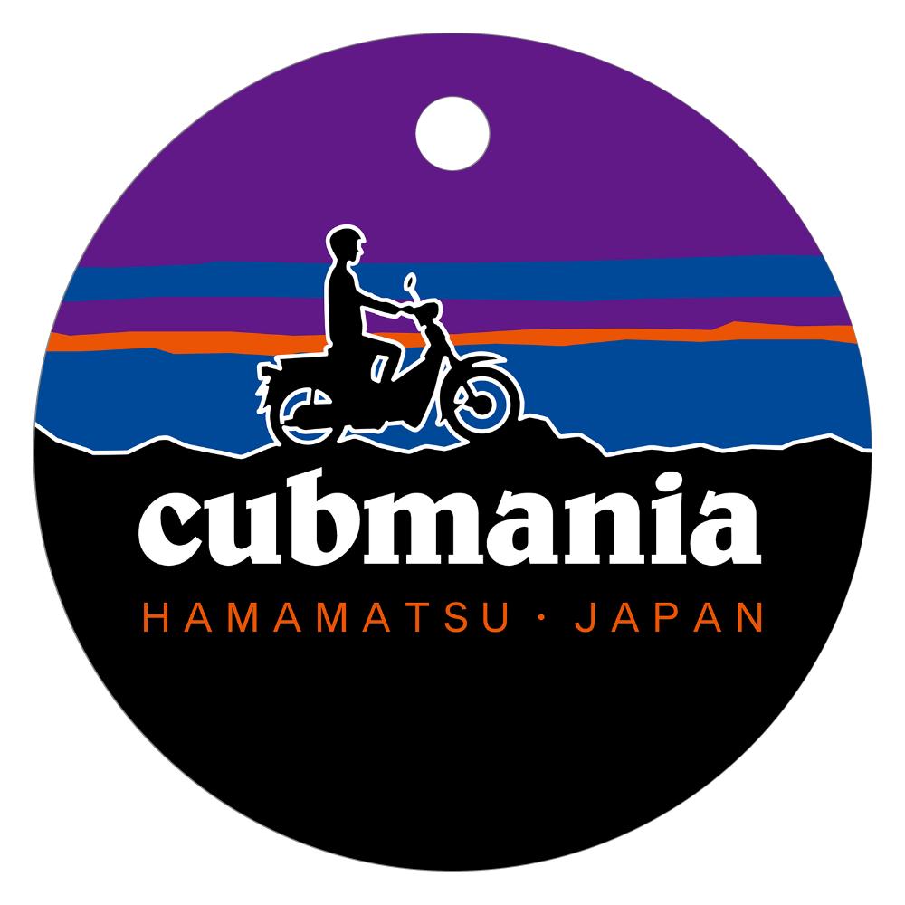 【パロディ】cubmania カブマニア スーパーカブ レザーキーホルダー(丸型)