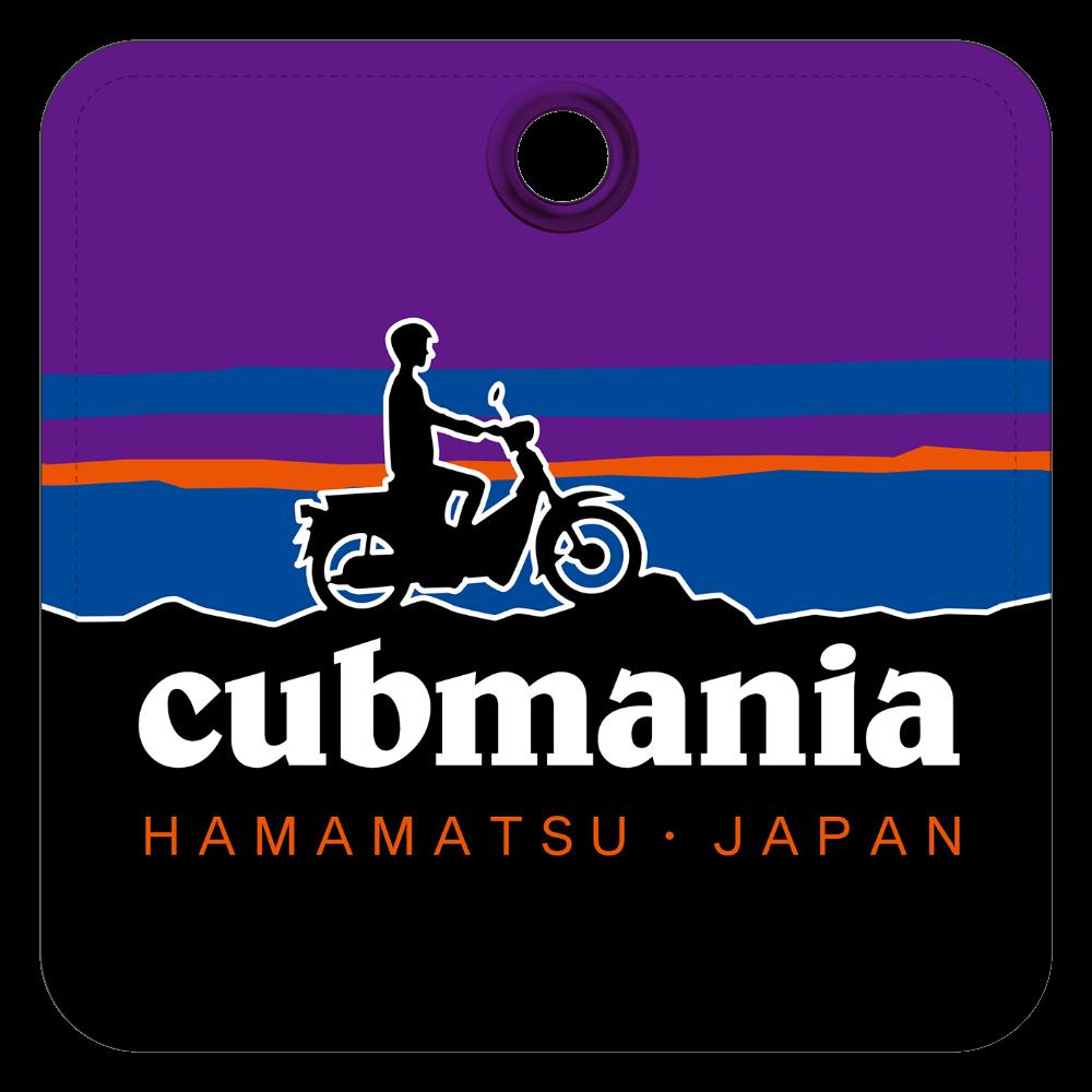 【パロディ】cubmania カブマニア スーパーカブ レザーキーホルダー(四角型)