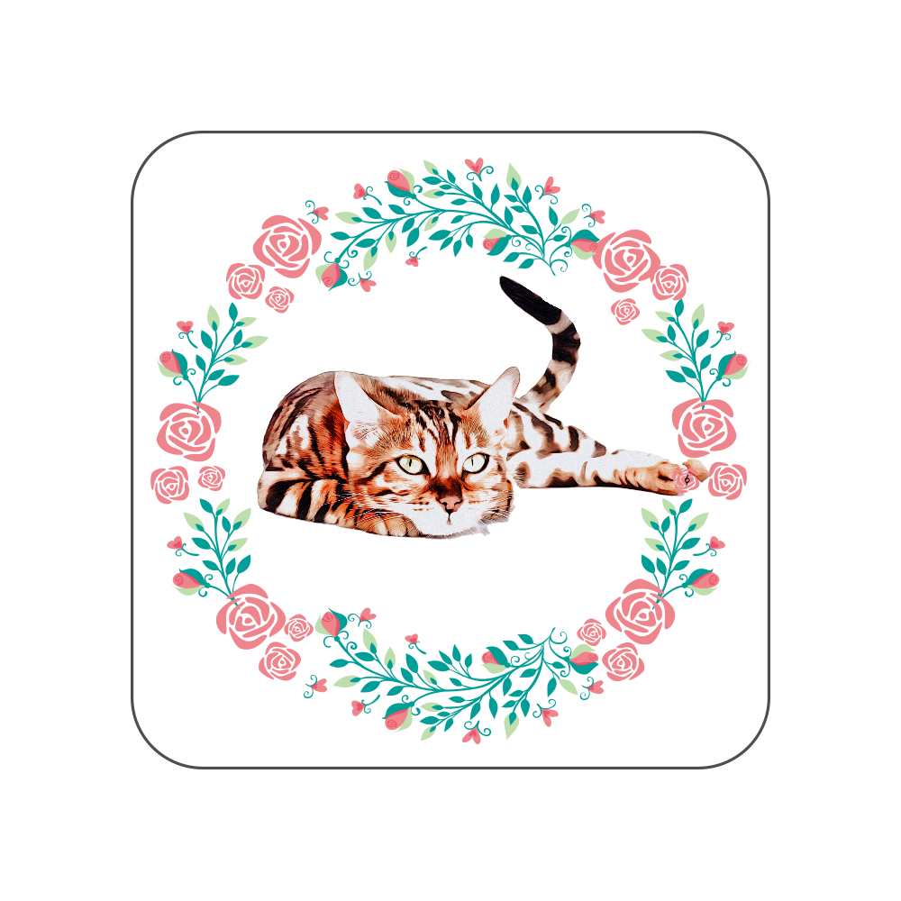ベンガル猫の花柄タオルハンカチ 全面プリントハンカチタオル
