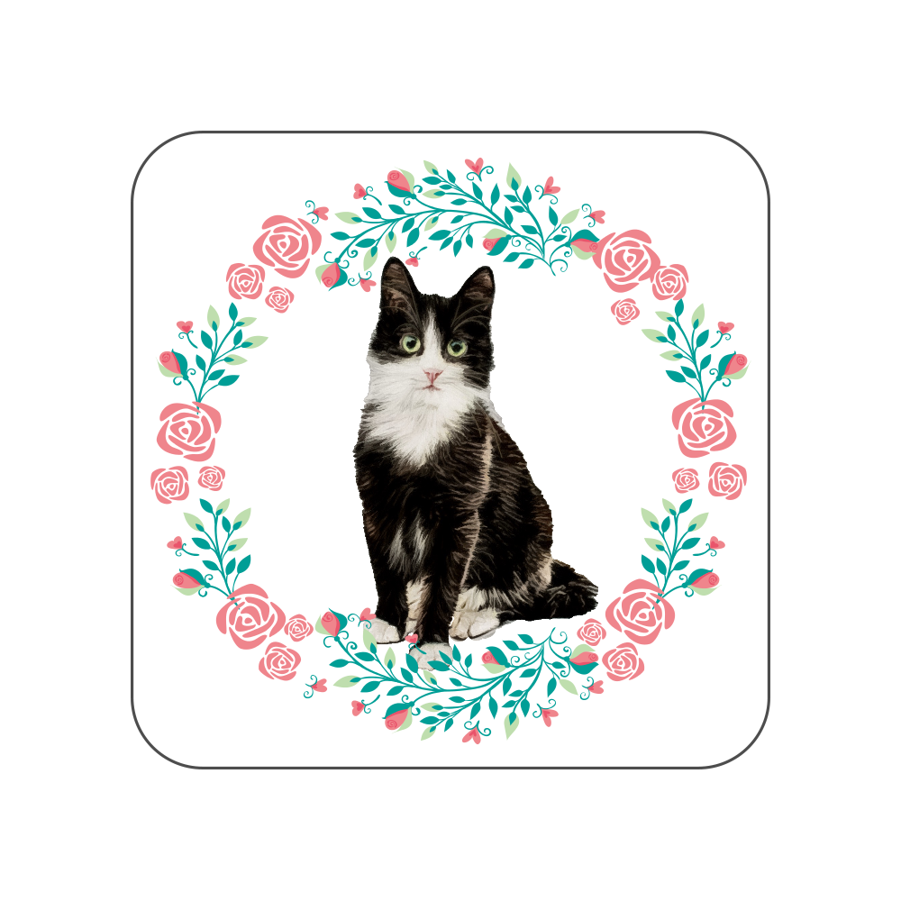 白黒ハチワレ猫の花柄タオルハンカチ 全面プリントハンカチタオル