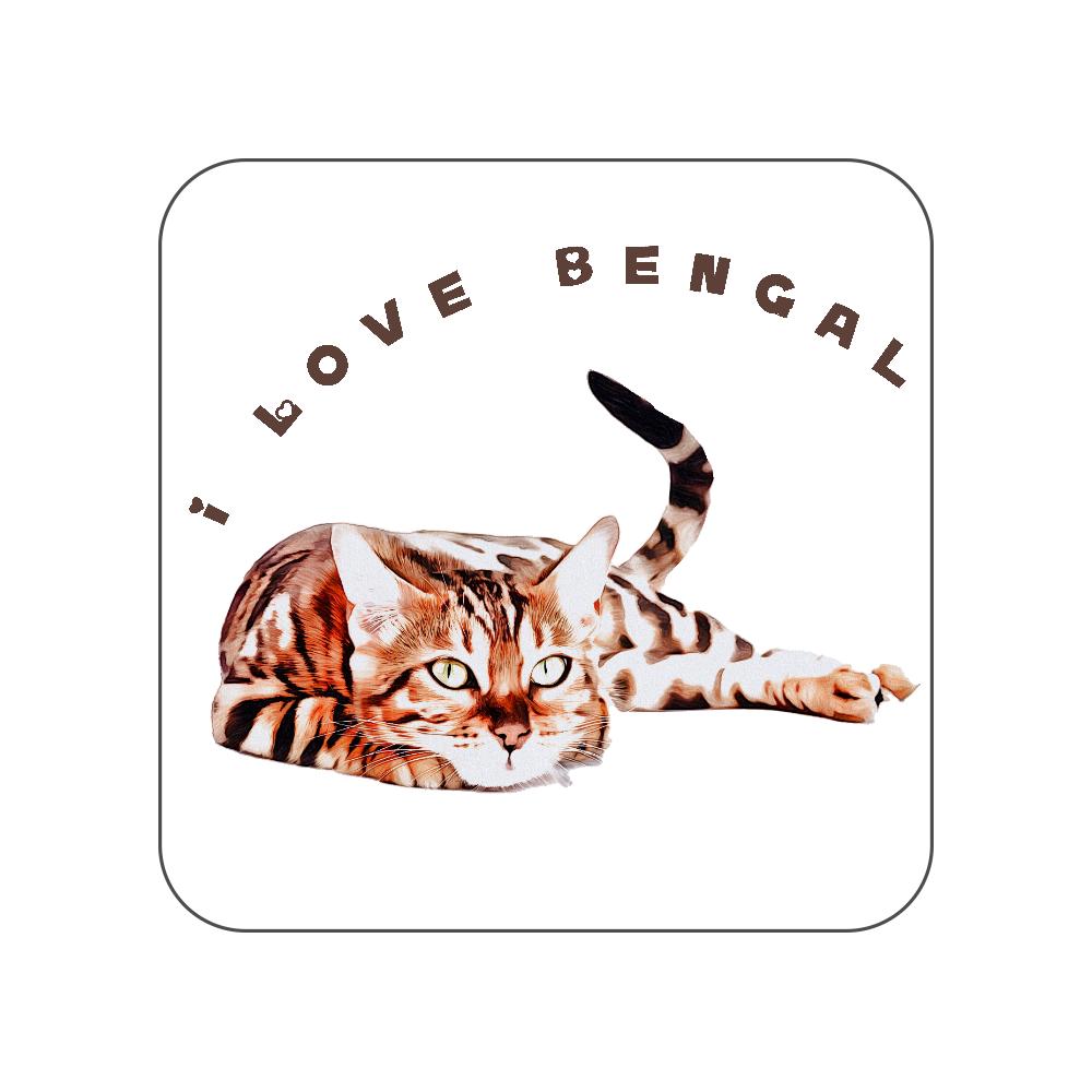 ベンガル猫のタオルハンカチ〜I LOVE〜 全面プリントハンカチタオル