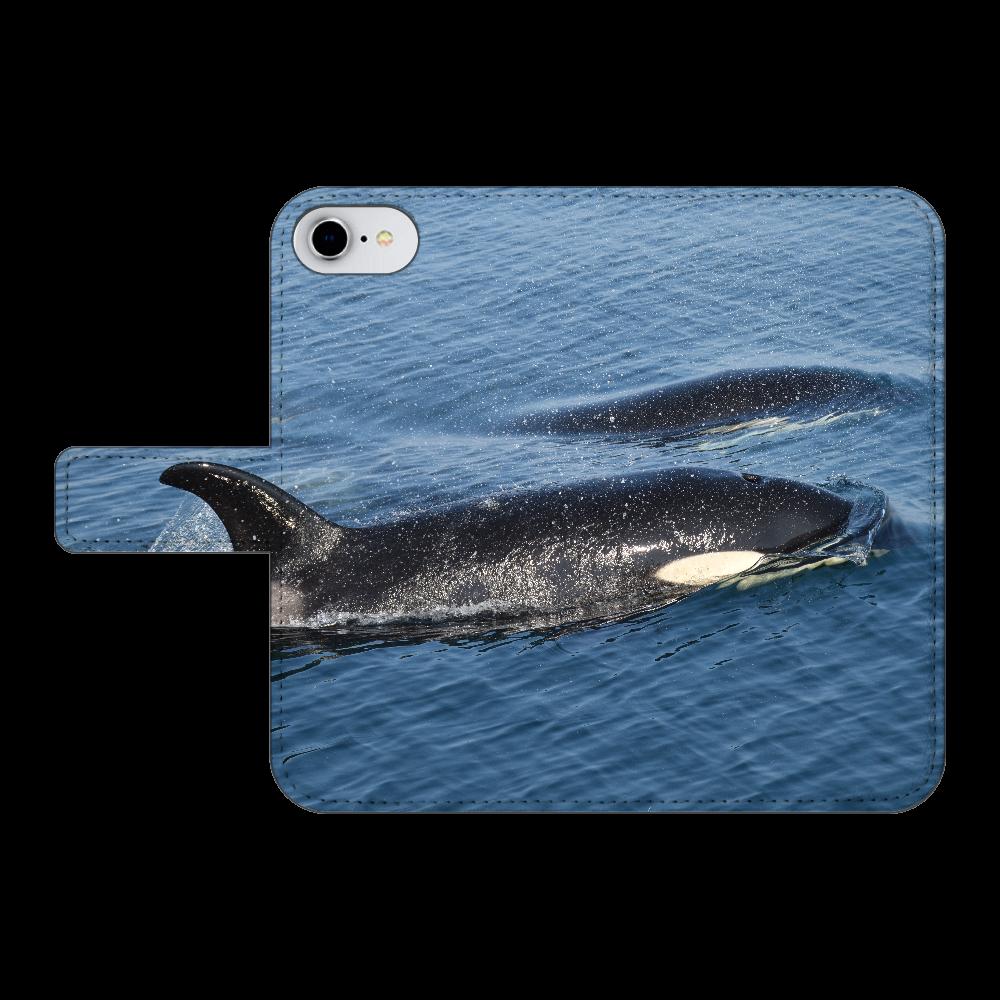 シャチ iPhone8 手帳型スマホケース ベルトあり3ポケット