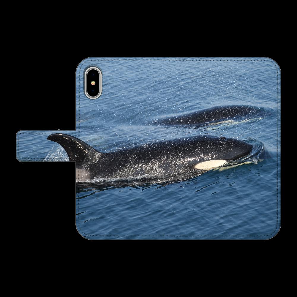 シャチ  iPhoneX/XS 手帳型スマホケース ベルトあり3ポケット iPhoneX/XS