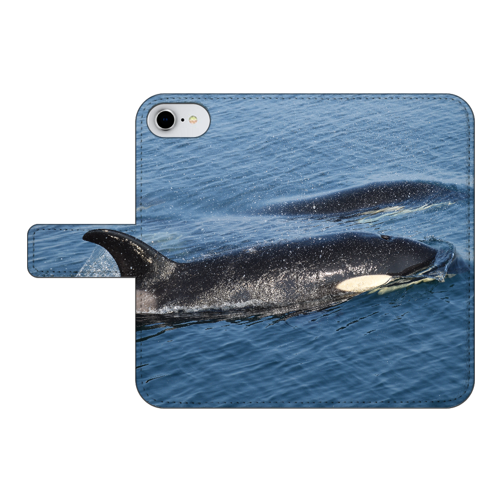 シャチ iPhone7 手帳型スマホケース ベルトあり3ポケット