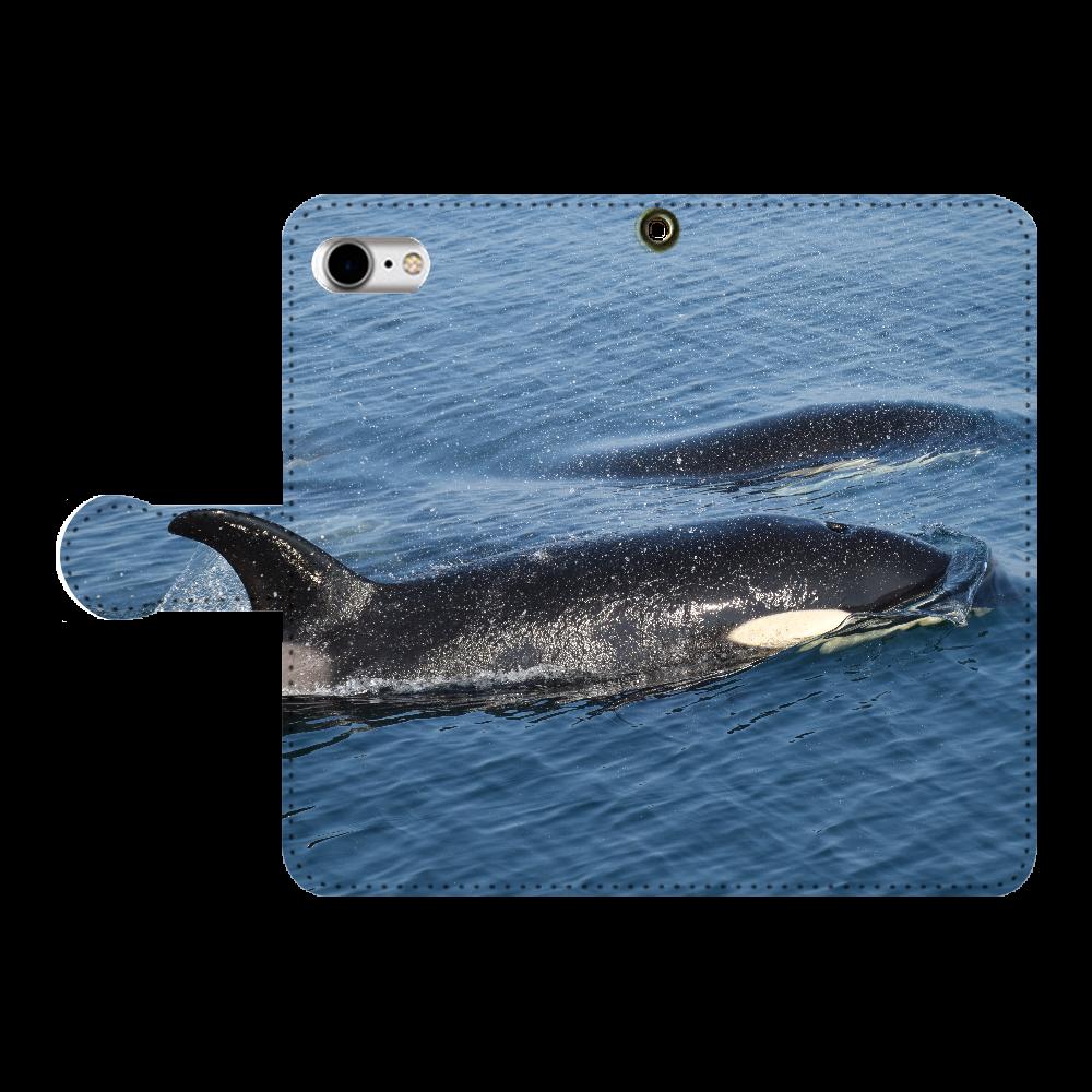 シャチ iPhone7 手帳型スマホケース