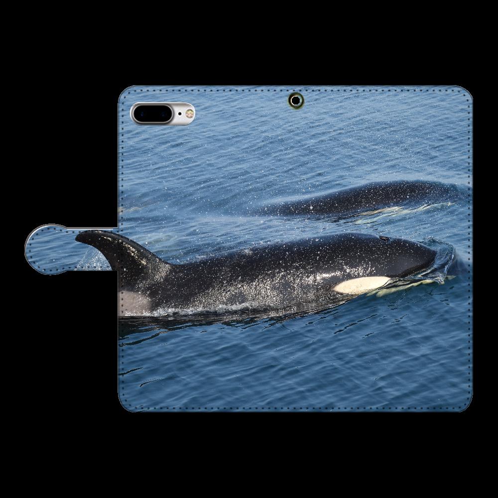 シャチ iPhone8Plus 手帳型スマホケース