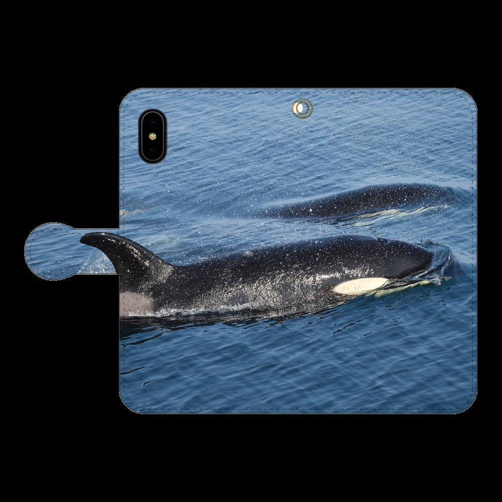 シャチ iPhoneX/Xs 手帳型スマホケース