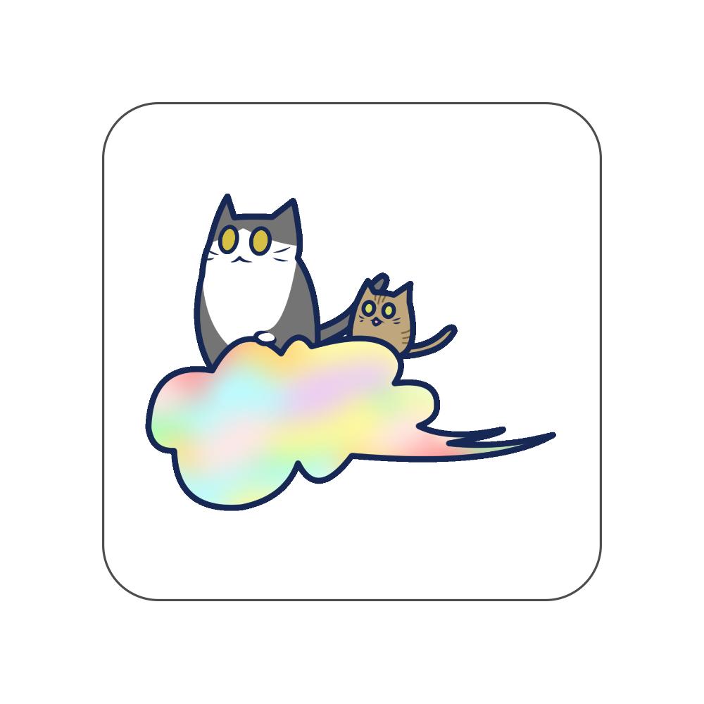 五色の雲と二匹の猫 全面プリントハンカチタオル 全面プリントハンカチタオル