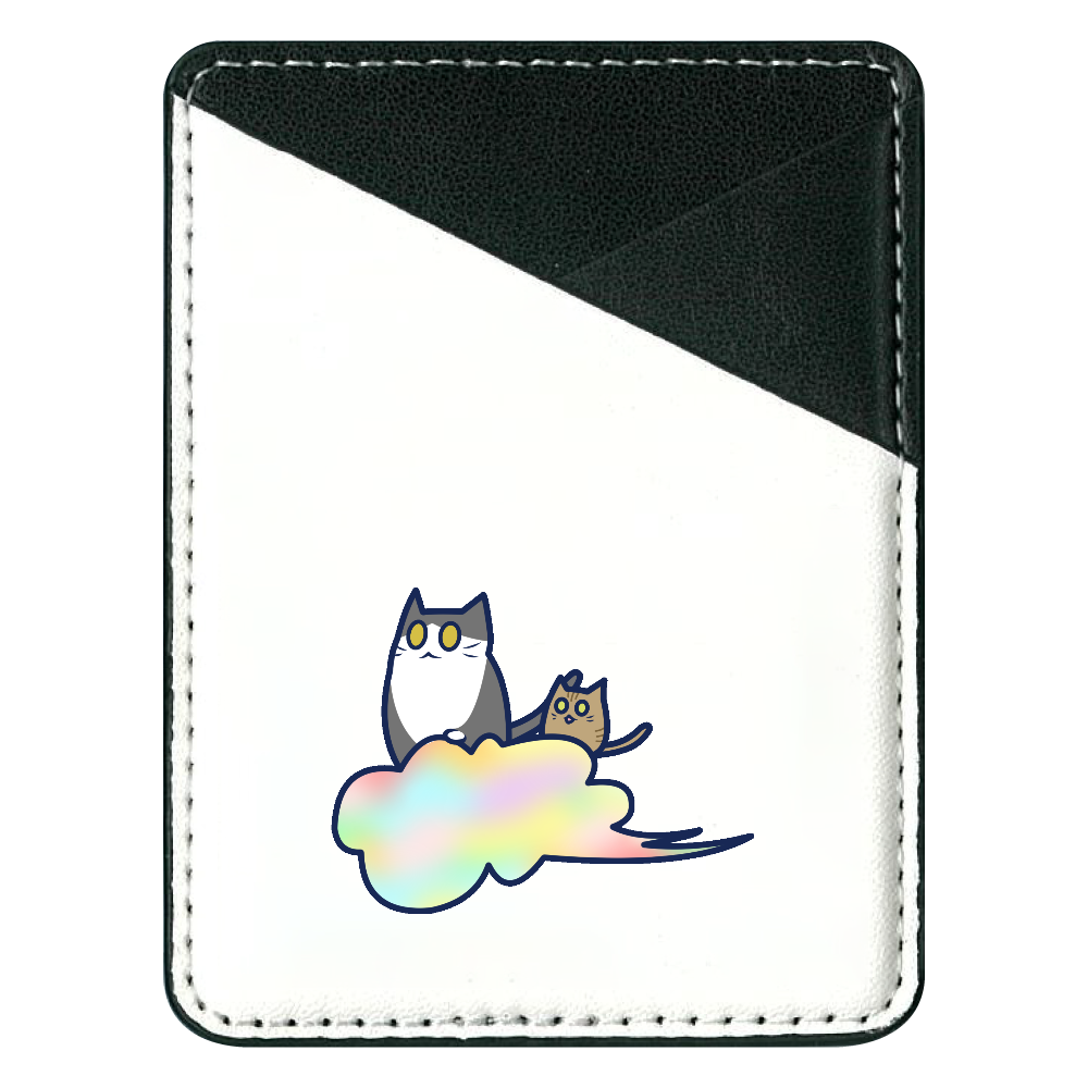 五色の雲と二匹の猫 貼り付けパスケース(スマホ用) 貼り付けパスケース(スマホ用)